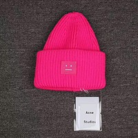 Acne Studios Auckie 8-color smile hat  F pink