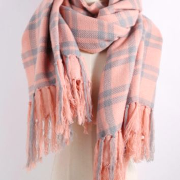 Pretty In Pink Plaid Blanket Scarf