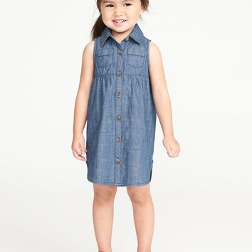 Sleeveless Chambray Shirt Dress for Toddler Girls|old-navy