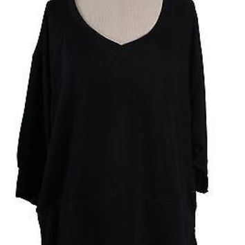 Sexy V Neck Solid Plain 3/4 Dolman Sleeve Cropped  Knit Sweater Shirt Top