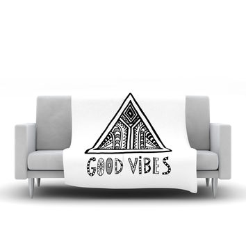 "Vasare Nar ""Good Vibes"" White Black Fleece Throw Blanket"