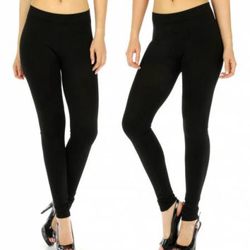 Seamless Solid Black Leggings