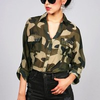 Studded Camo Blouse | Trendy Tops at Pink Ice