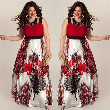 Plus Size 5XL Women Floral Printed Long Evening Party Prom Gown Formal Dress 2017 Summer Dress women Maxi Dress vestidos playa