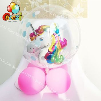8pcs 24inch Bubble No wrinkles Clear PVC Confetti Balloons Transparent Mini unicorn ball 10'' Latex Balloon Birthday Party Decor