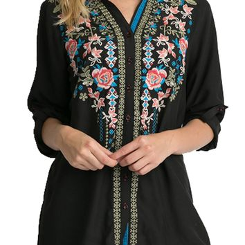 Andree by Unit Embroidered Button Down Top Black