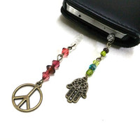 Two Phone Dust Plug Charms, Hamsa Hand Charm, Peace Charm, Beaded Phone Charms, Phone Charms, Bronze Charms, Small Gifts, Phone Accessories