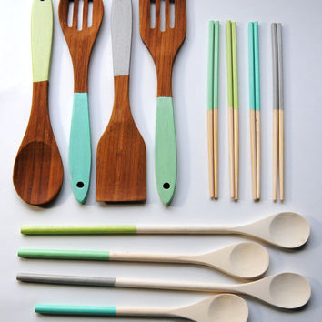 You Choose Your Colors! Housewarming Set - Dipped Chopsticks, Cooking Spoons, Bamboo Servers