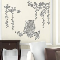 Best Creation Pop-Up 3d Silver Crystal Owl Wall Decor Stickers