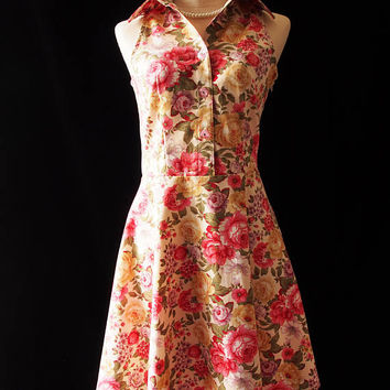 Floral Dress Shirt Dress Working Dress Casual Party Dress Feminine Romantic Dress Garden Rustic Wedding Dress Vintage Floral Dress
