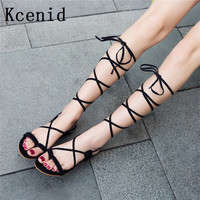 Kcenid Plus size 34-48 women sandals fashion gladiator lace up summer shoes square heeled sandals ankle strap flip-flop shoes