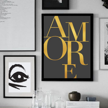 "Love Poster ""Amore"", Love Quote, Love Print, Typography Poster, Minimalist Poster, Home Art, Gold Print, Modern Wall Art."