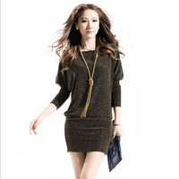 Knitted Long Sleeve Mini Dress