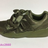 PUMA X RIHANNA FENTY BOW SNEAKER 5-10 OLIVE GREEN 365054-54. CREEPERS. AUTHENTIC