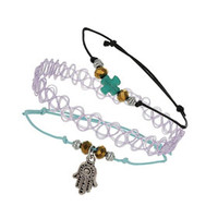 Tattoo And Cord Bracelet Set - Blue