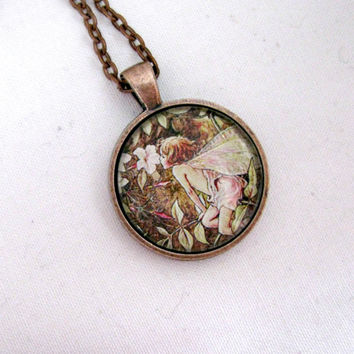 "Fairy Necklace, Flower Fairies, Mary Cicely Barker, Fairies Necklace, 1 Inch Glass Pendant Necklace 24"", Gift for Her, Gift for Gardeners"