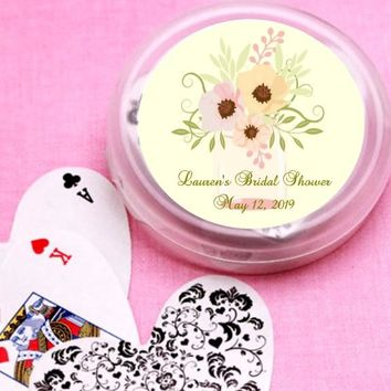 12 Pink and Green Mason Jar Bridal Shower and Wedding Deck of Cards Favors