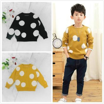 Baby Dot Sweaters Children Boys Sweaters Winter Girls Sweaters Knit Kids Pullover Casual Boys Clothing Kids Jacket