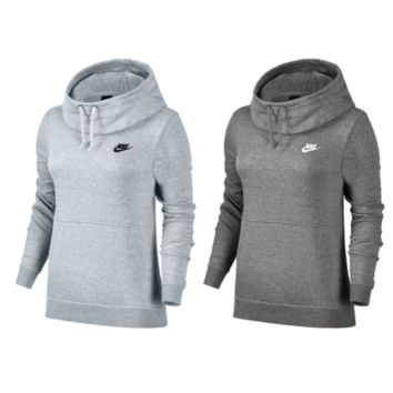 NIKE WOMEN'S RALLY FUNNEL NECK FLEECE HOODIE GREY GRAY WHITE WARM NWT 853928