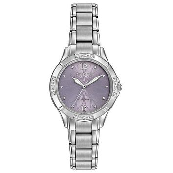 Citizen Womens Diamond Eco-Drive Watch - Lavender Floral Dial - Stainless Steel