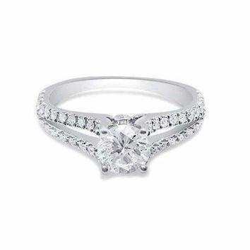 1/2 Carat Diamond on a Split Shank Micro Pave Diamond Engagement Ring GIA Certified 0.43 Carat H SI1 by Luxinelle® Jewelry