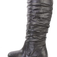 Black Slouchy Mid Calf Casual Boots Faux Leather