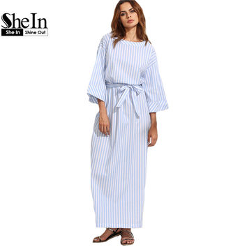 SheIn Blue Striped Bow Waist Long Dresses Womens Summer Three Quarter Length Sleeve Round Neck Casual Maxi Dress