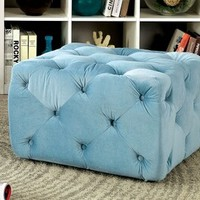 Sonja collection blue tufted padded flannelette square ottoman foot stool