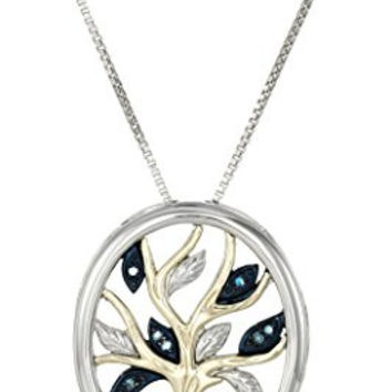 Sterling Silver and 14k Yellow Gold Diamond Accent Family Tree Pendant Necklace,18""