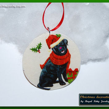 Dog Christmas decoration,  handmade Christmas decoration, decoupage decoration, Christmas Ornament, Christmas Gift.