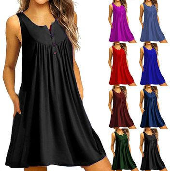 Plus-Size O-neck  Button Sleeveless Cool Top Knee Mini Dress