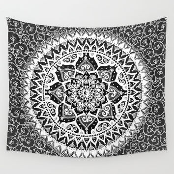 Yin Yang Mandala Pattern Wall Tapestry by Laurel Mae