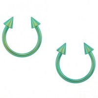 Green Anodized Stainless Steel 14G Horseshoes with 4mm Spikes - Sold as a set of two