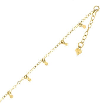 Diamond-Cut Circle Station Anklet in 14K Gold - 10"