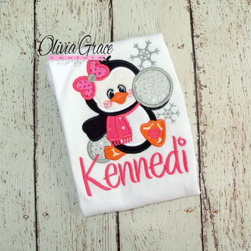 Girl Penguin Christmas Winter Embroidered Applique Shirt or Bodysuit