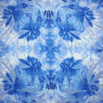 Trippy tie dye tapestry or wall hanging in blues