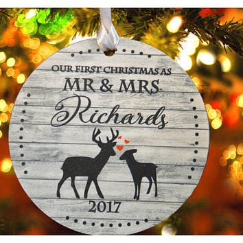 Our First Christmas ornament , Deer ornament,Mr & Mrs Personalized christmas tree ornament, Wedding Ornament, christmas gift (Ch7)