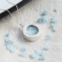 Aquamarine Birthstone Locket Necklace