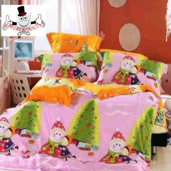 Pink Orange Happy Xmas Bedding Sets and Quilt Covers