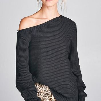 Off Shoulder Knit Sweater - Black