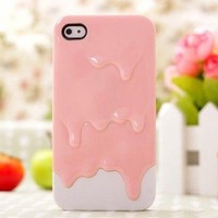 Melt Melting Ice Cream Hard Case Cover for iPhone 4 4G 4S Pink White