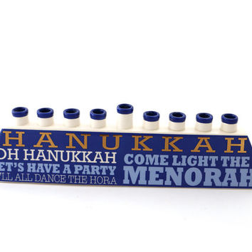Menorah , hannukah - ceramic menorah - festival of lights - Judaica - ceramic and gold - chanukah