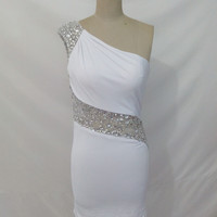 White One Shoulder Beaded Illusion Waist Back Short Fitted Jersey Prom Dress