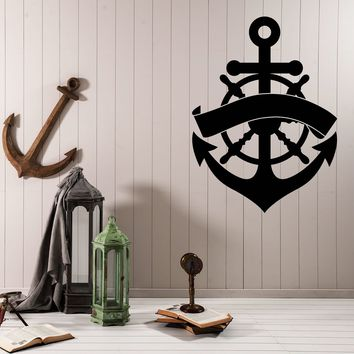 Large Vinyl Decal Wall Sticker Wheel Anchor Sea Ocean Nautical Decor (n994)