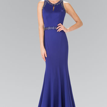 Beads Embellished Bodice Long Dress with Sheer Back GL2303