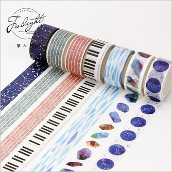 13 Designs Let Dream Fly Blue Starry Sky Crystal Stones Decorative Washi Tape DIY Diary Planner Scrapbook Lable Masking Tape