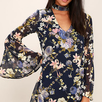 Feeling of Love Navy Blue Floral Print Shift Dress