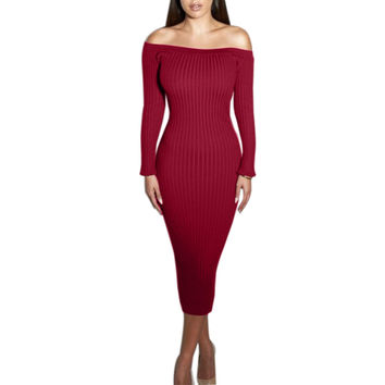 Knitted Off Shoulder Midi Dress