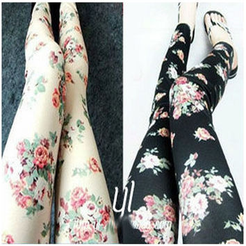 Rose Flower Leggings For Ladies Imitation Jeans Women flower tights 2 Colors Free Shipping New Fashion Style