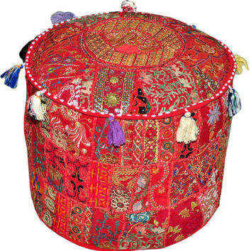 Red Bohemian Pouf Ottoman Vintage Patchwork Indian Pouf Large Round Ottoman Seat Stool Pouffe round cotton stool chair bench foot stool